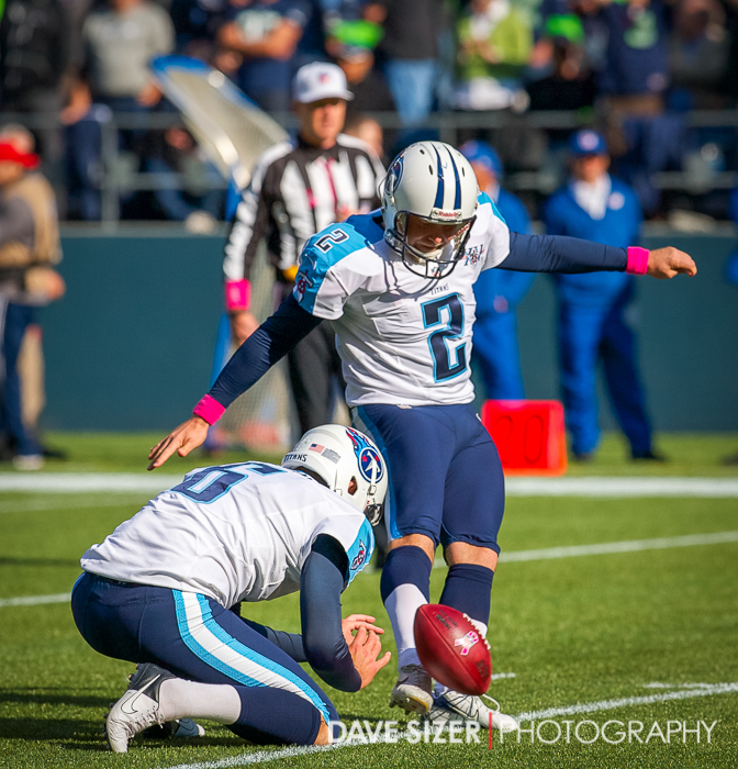 Titans Kicker Rob Bironas with a field goal attempt.