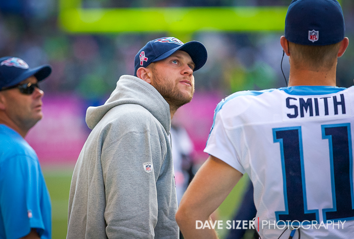 An Injured Jake Locker can only watch from the sidelines.