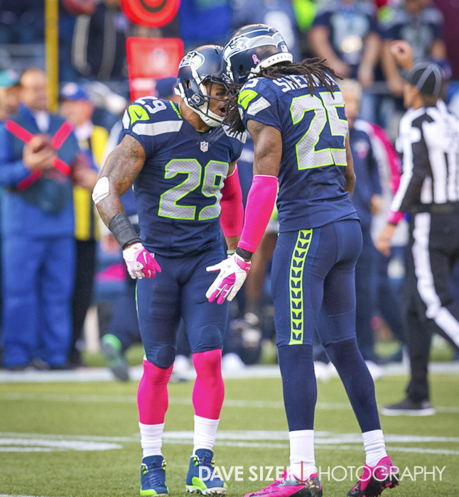 Earl Thomas and Richard Sherman pump each other up after a play.
