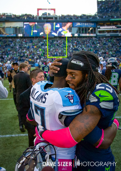 Richard Sherman and Damian Williams congratulate each other after a hard fought game.