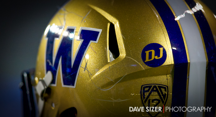 The Husky Helmets had a sticker with the initials of Don James.