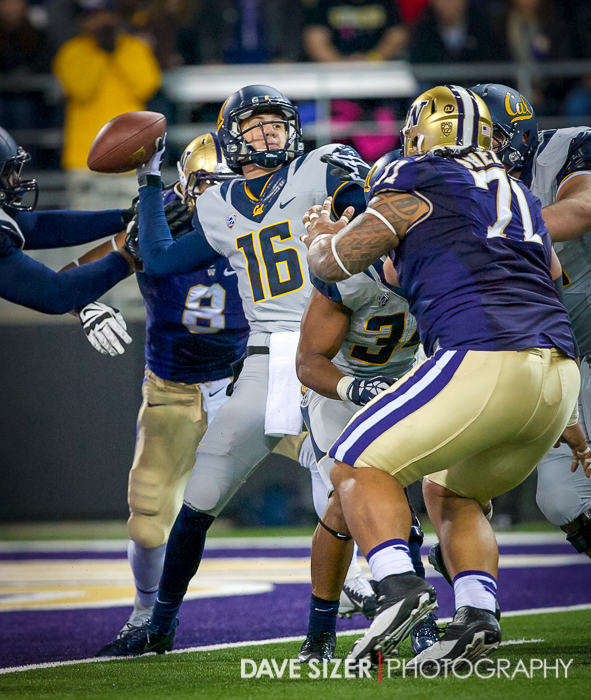 Cal QB Jared Goff tries to get a pass off under heavy pressure.