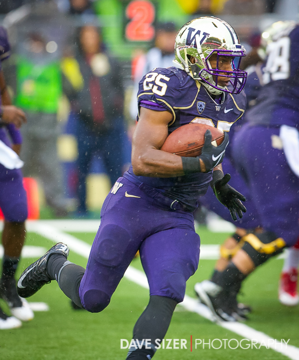 Bishop Sankey set a school record with 40 carries on this wet, soggy day.