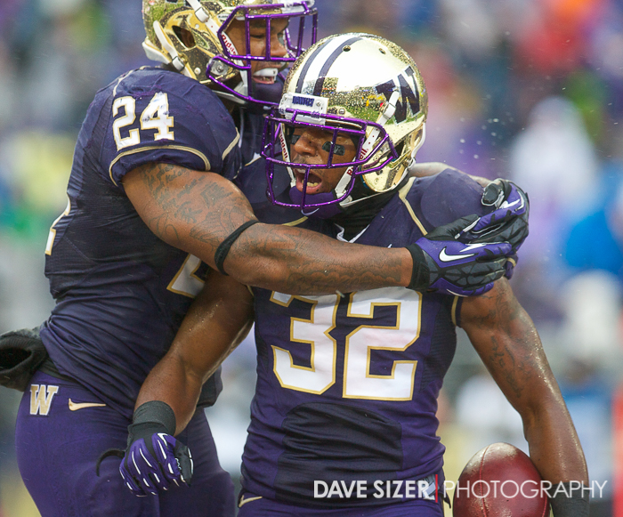 Jessie Callier and Deontae Cooper celebrate after a special teams safety.