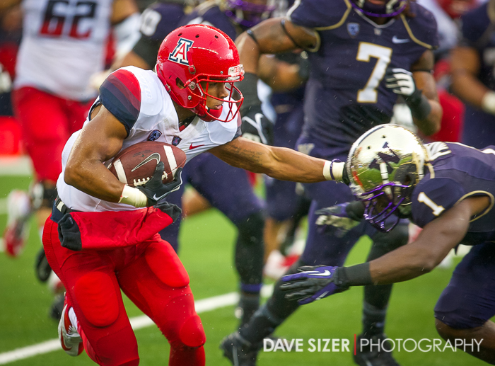 An Arizona receiver stiff arms Sean Parker