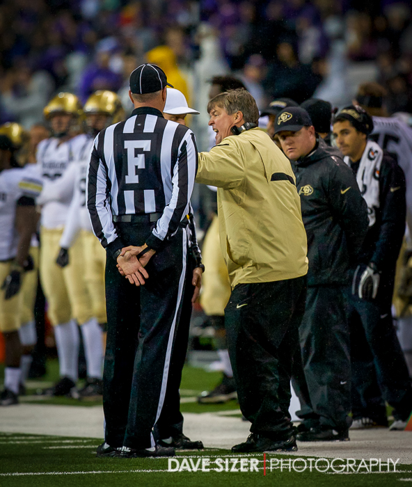 Head Coach Mike MacIntyre has a few words for the officials.