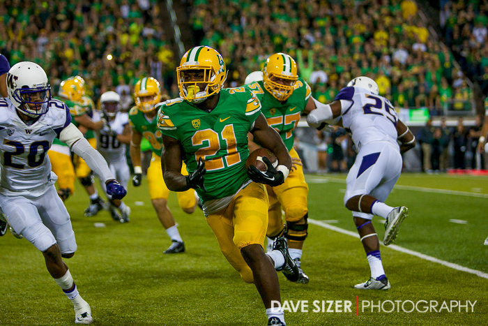 Royce Freeman eyes the end zone on this sweep.