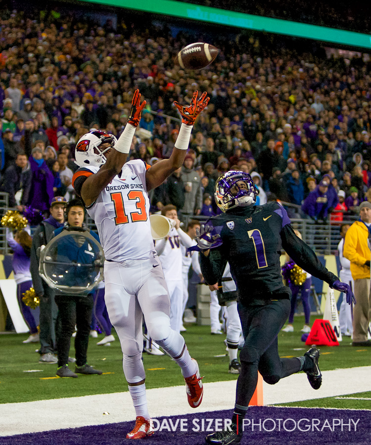 Jordan Villain skies up for a touchdown over John Ross.