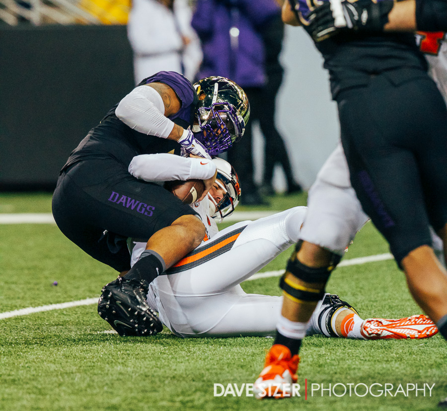 Hau'oli Kikaha sacks Sean Mannion  on the first play of the game.