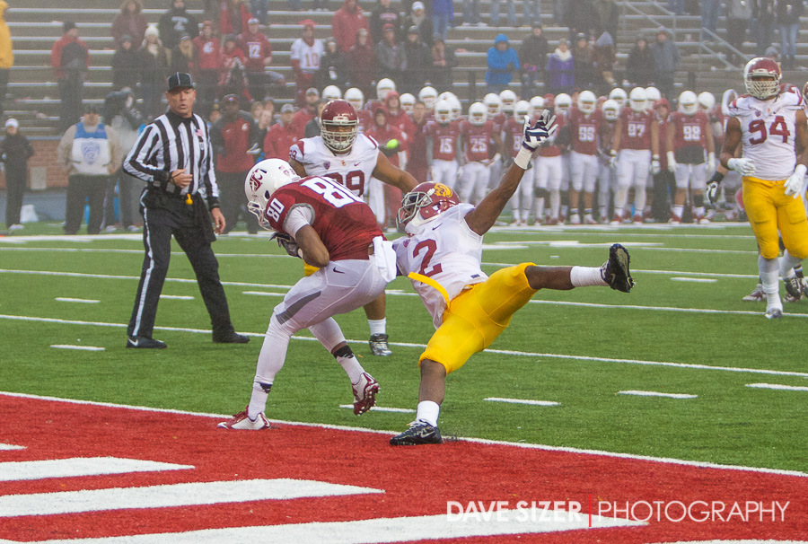 Adoree' Jackson knocks away a pass intended for Isiah Meyers in the end zone.