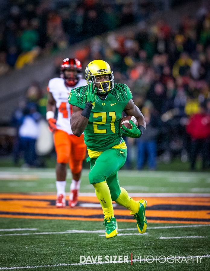 Royce Freeman gets out in the open.