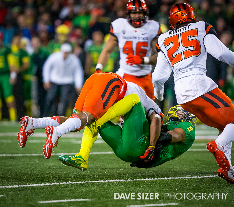 Devon Allen gets uprooted by a Beaver.