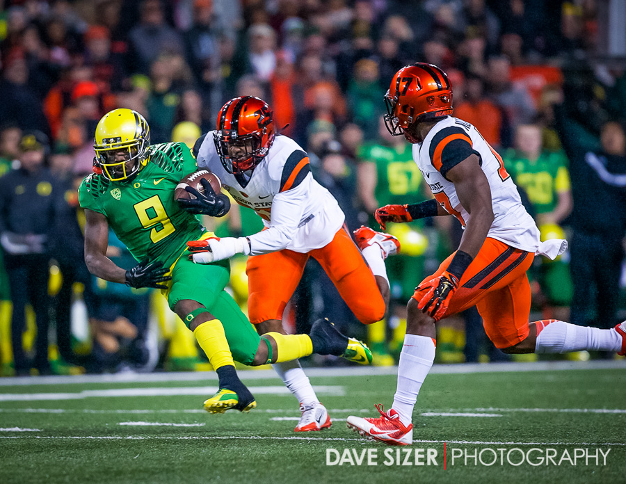 Byron Marshall slips away from the Beavers...