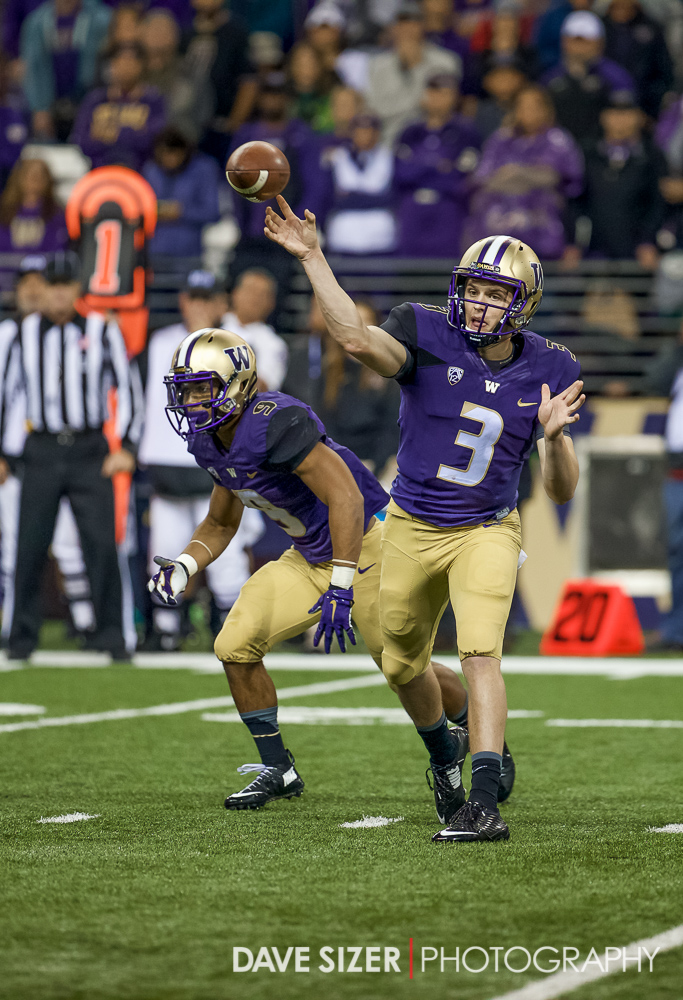 Jake Browning launches a pass.