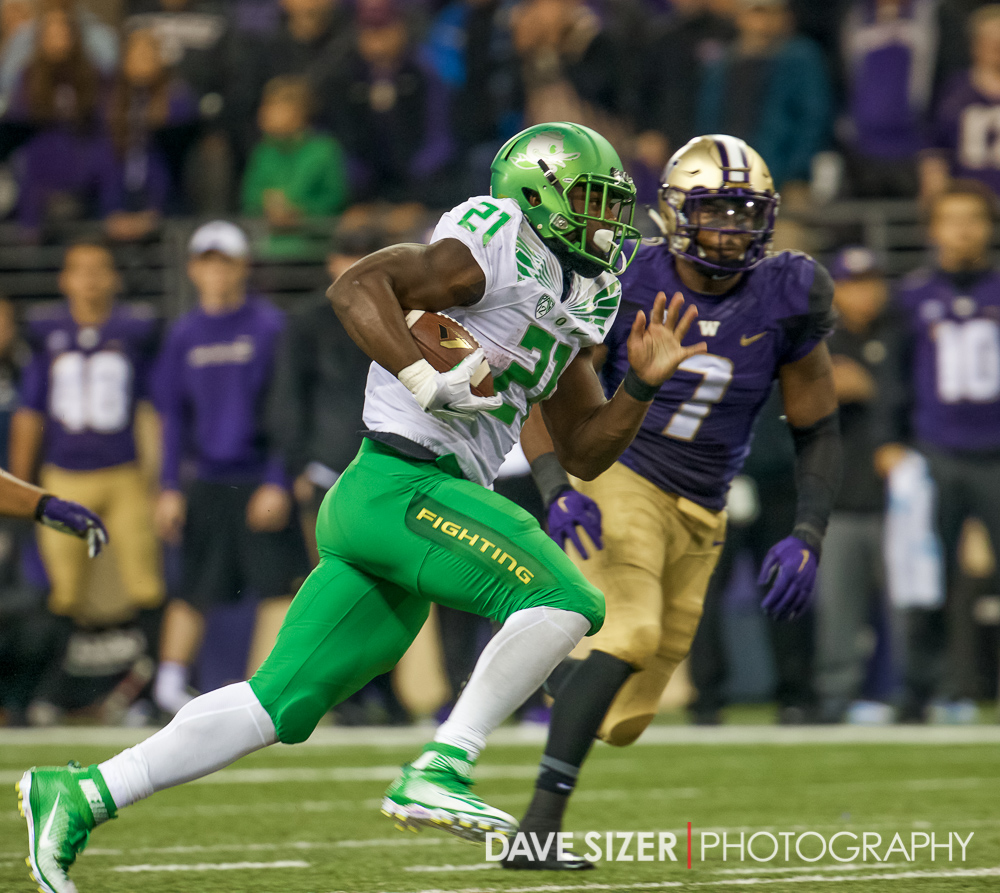 Royce Freeman shifts into second gear.