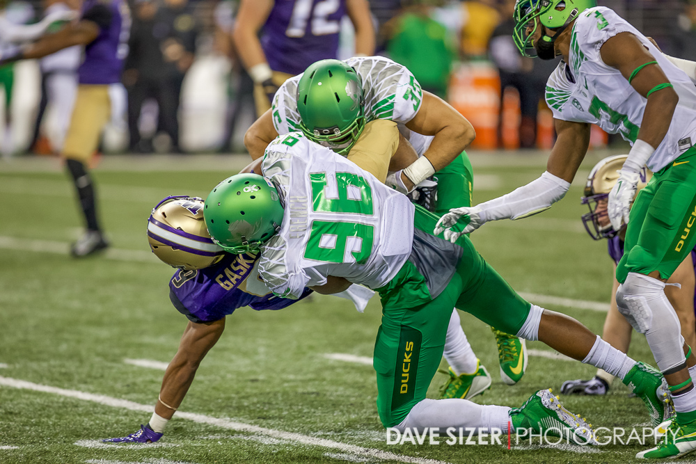 Myles Gaskin gets slammed to the turf by a duo of Ducks.