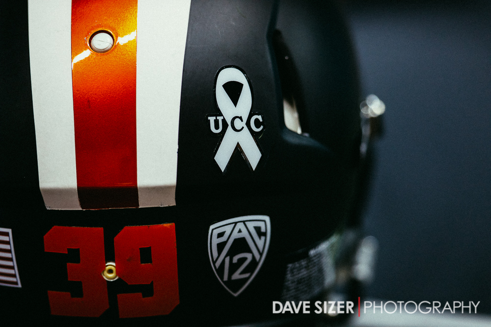 OSU wore a helmet decal in remembrance of the victims of the Umpqua Community College  shootings.