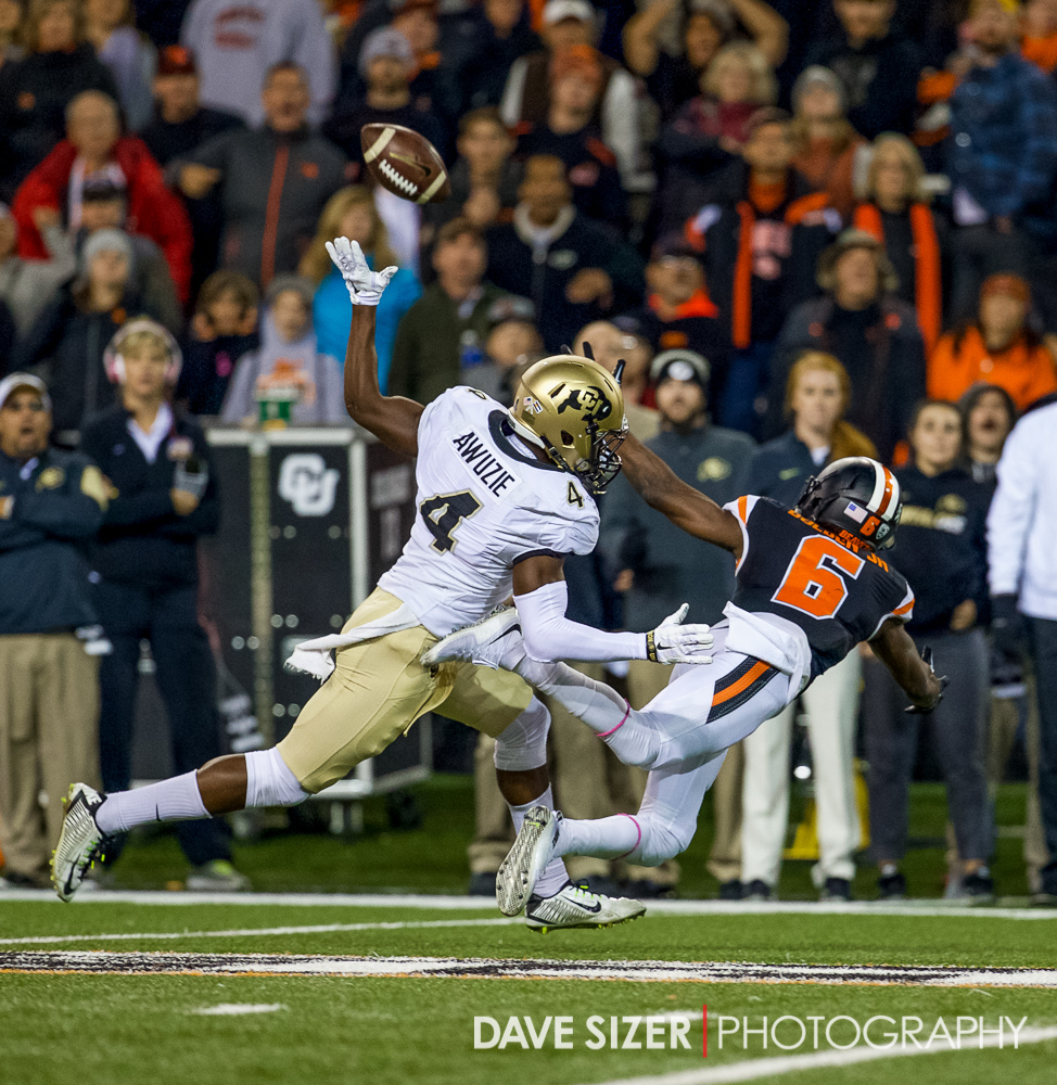 OSU's Victor Bolden draws a pass interference call on this play.