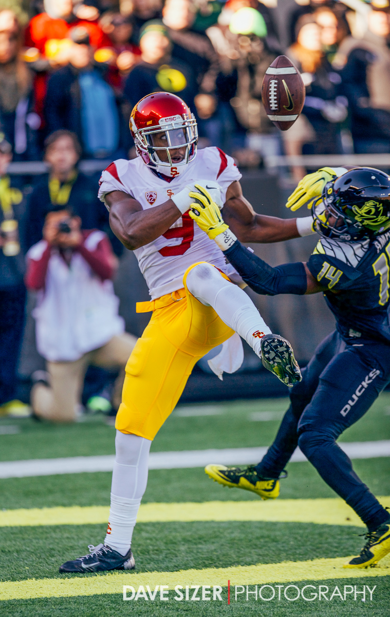 JuJu Smith-Schuster battles for this pass ing the end zone with Ugo Amadi. The pass would be incomplete.