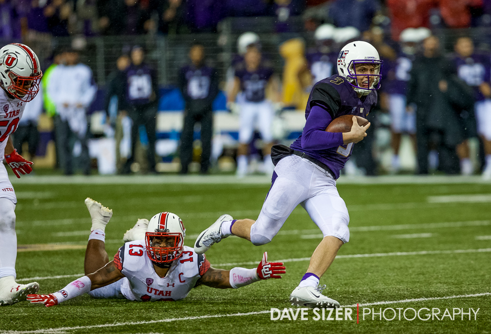 Jake Browning is just out of reach of Gionni Paul.