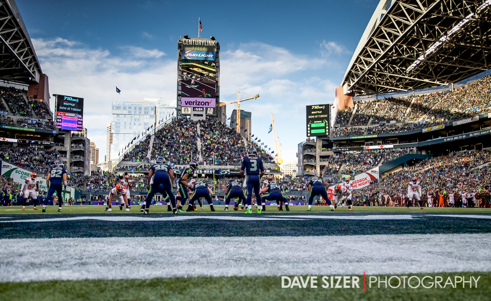 A beautiful view of CenturyLink field as the Seahawks begin a drive.