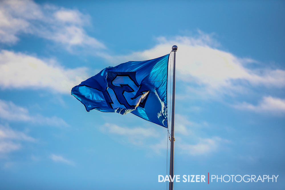The 12 flag flies high above the stadium.