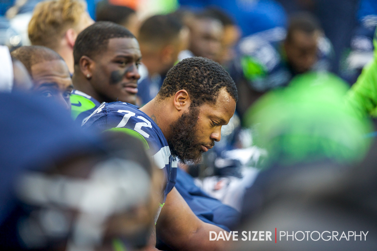 Michael Bennett on the sidelines.