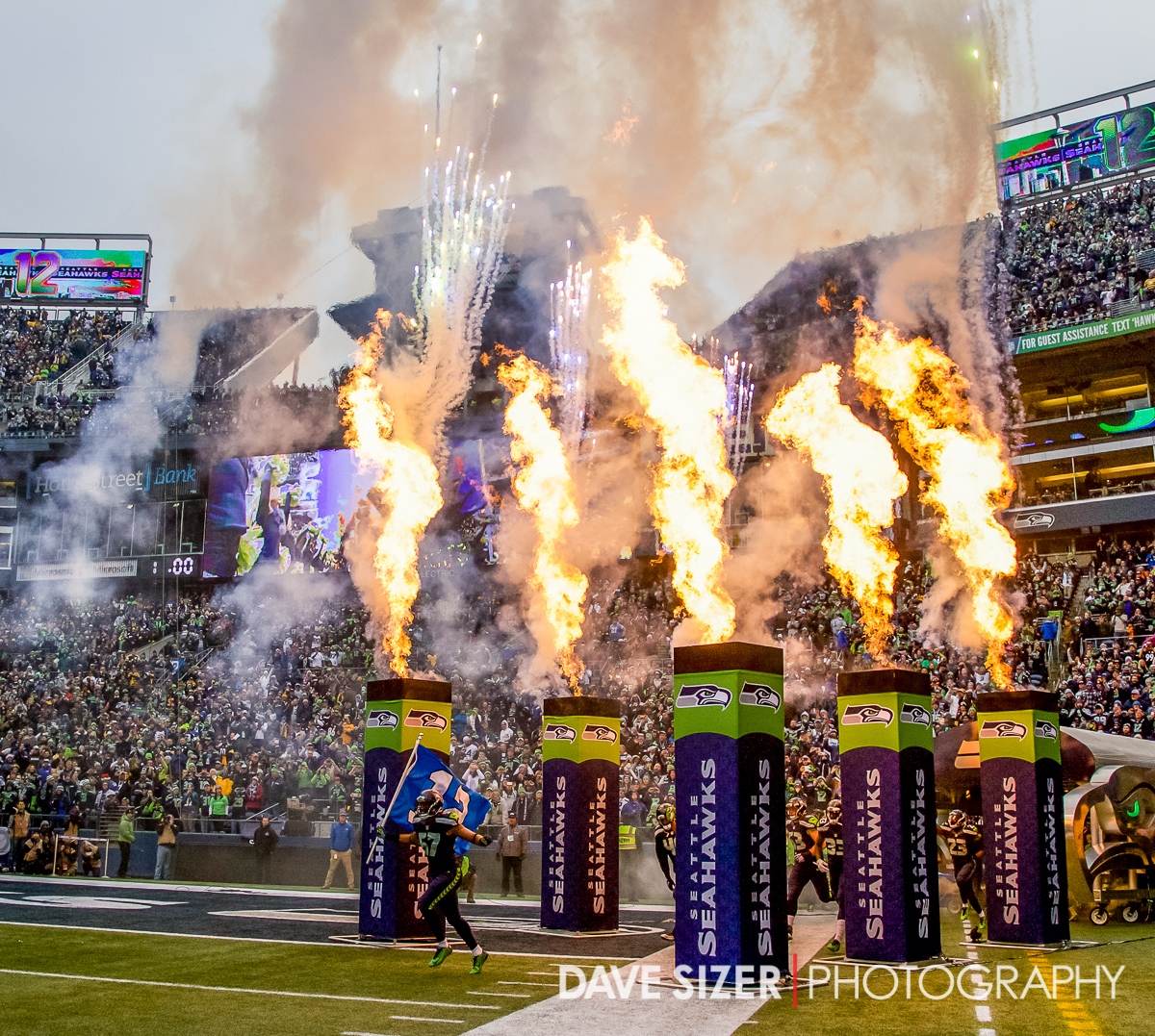 The Seahawks take the field.