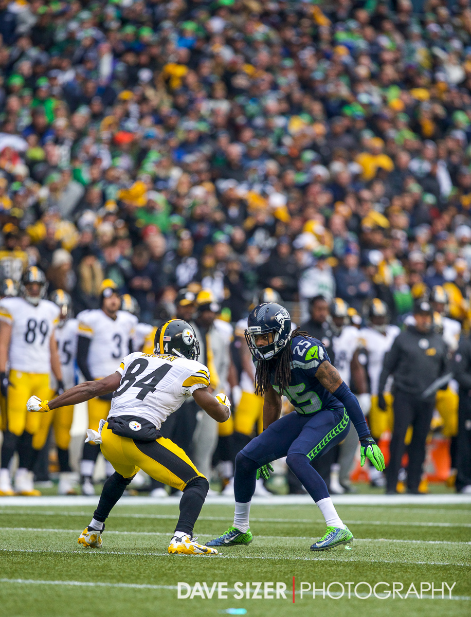 Richard Sherman faces off against Antonio Brown.
