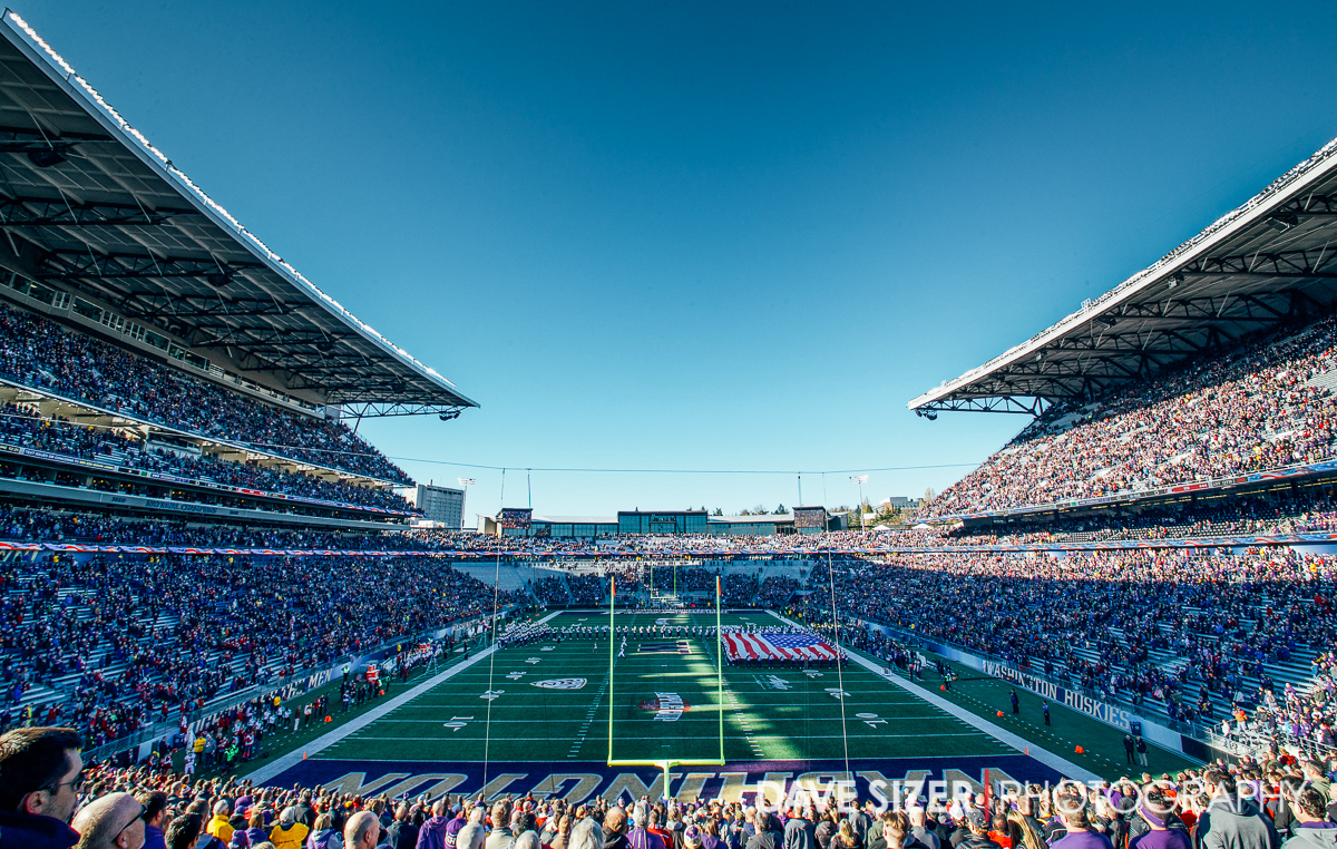 A beautiful setting at Husky Stadium during the National Anthem.