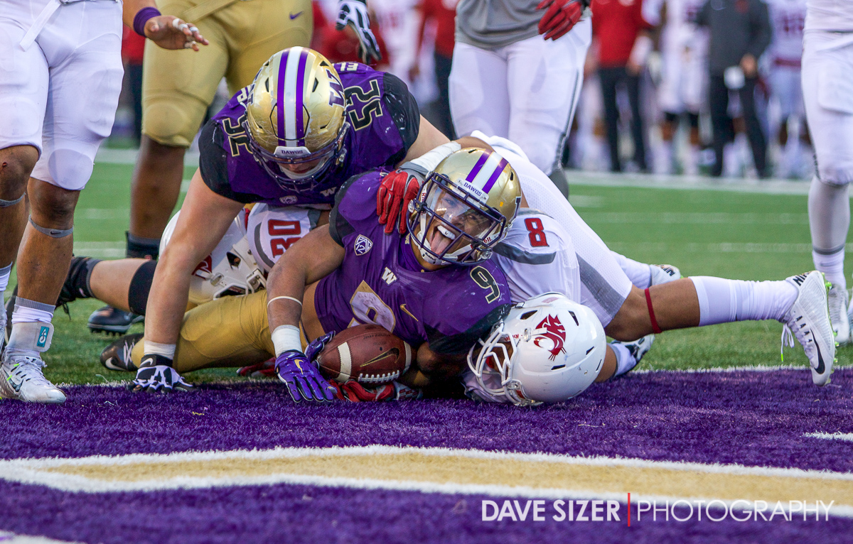 Myles Gaskin lets out a yell after scoring his second TD on the day.