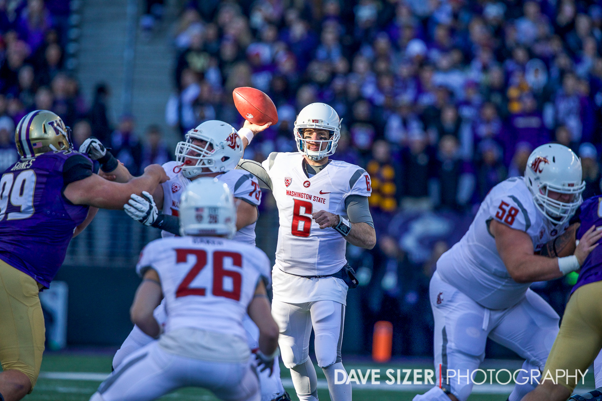 Backup WSU QB Peyton Bender gave it a try, but the Dawgs were just too much on this day.