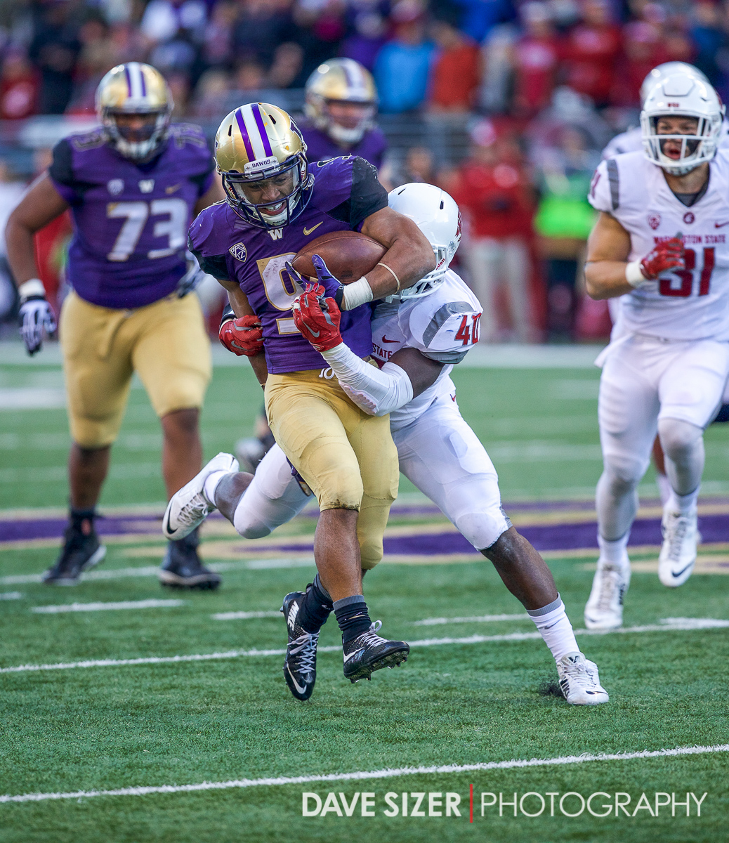 Myles Gaskin takes Kache Palacio for a ride.