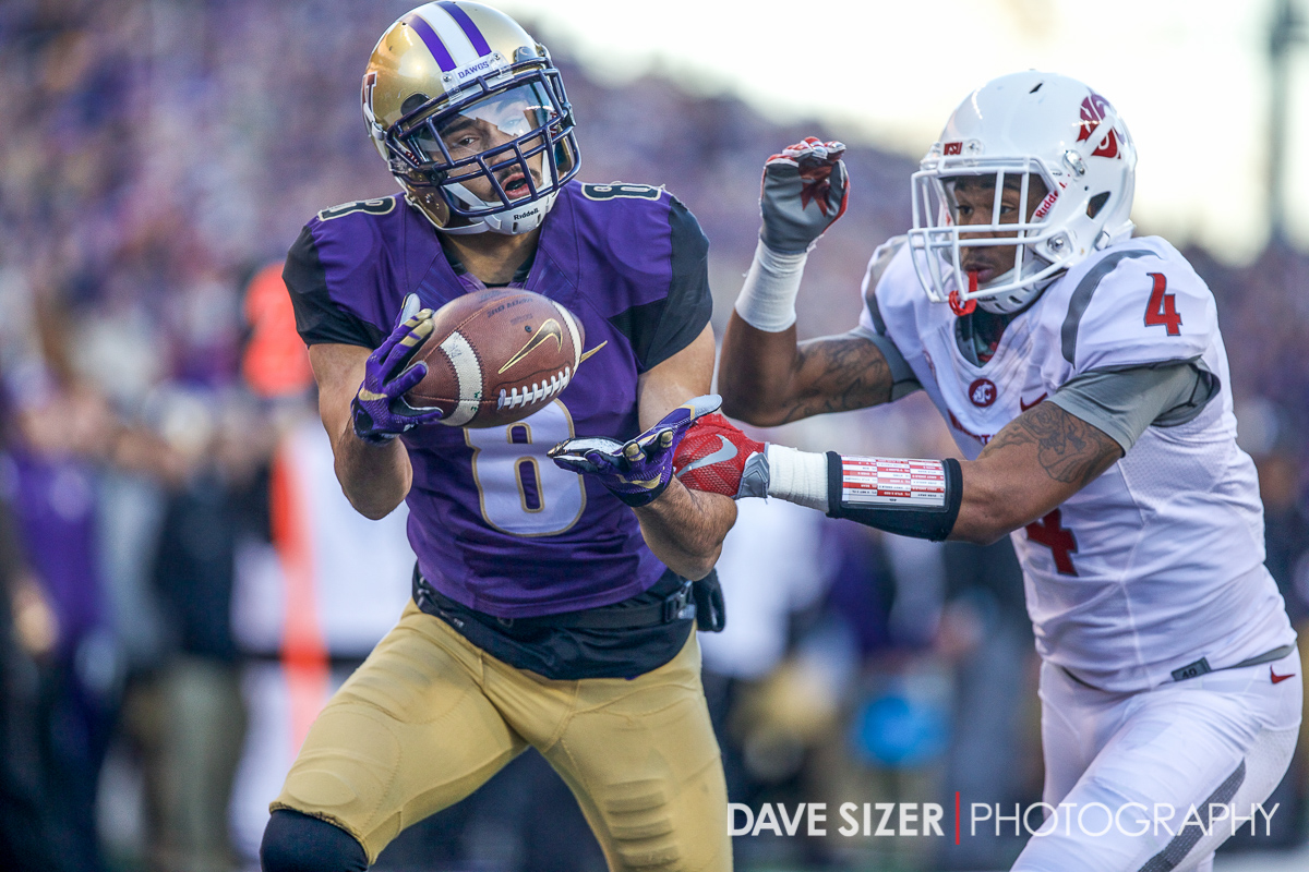 UW's Dante Pettis almost hauls in this pass on the goal line.