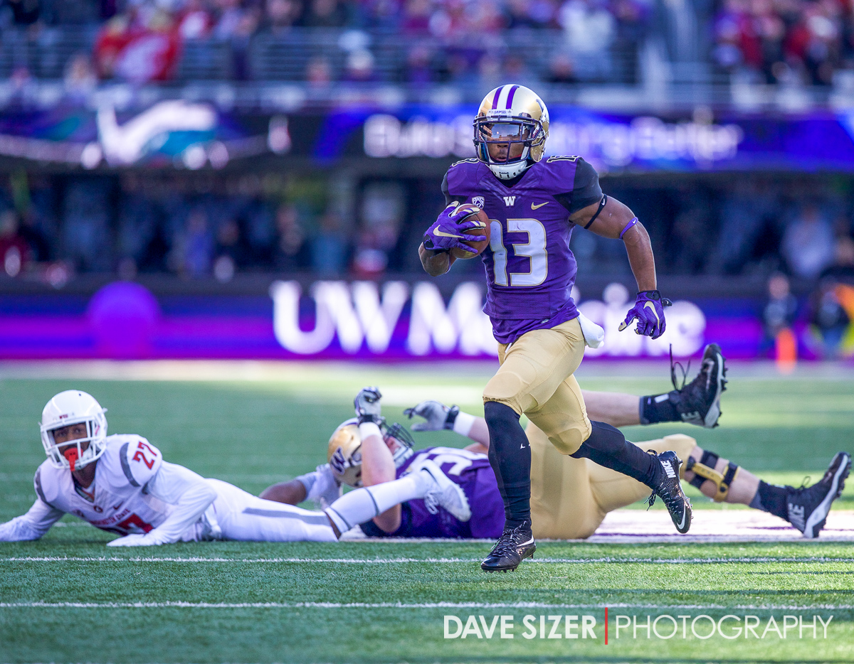 Chico McClatcher had the first score for the Huskies on a long reverse play.