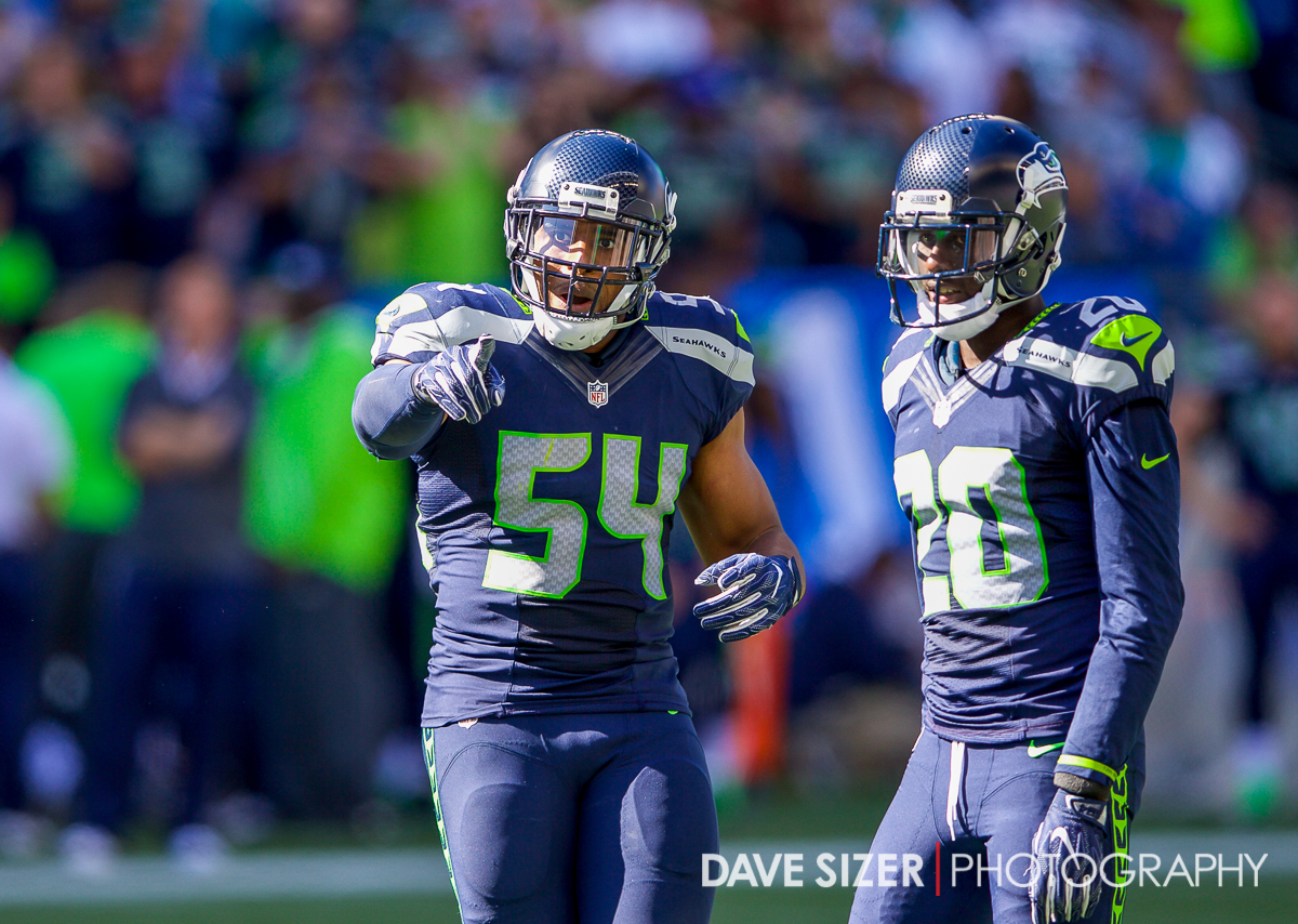 Bobby Wagner gestures to the officials.