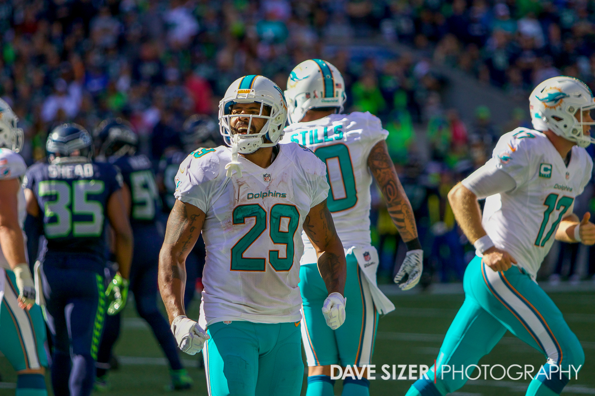 Adrian Foster barks at the crowd after a Dolphin touchdown.