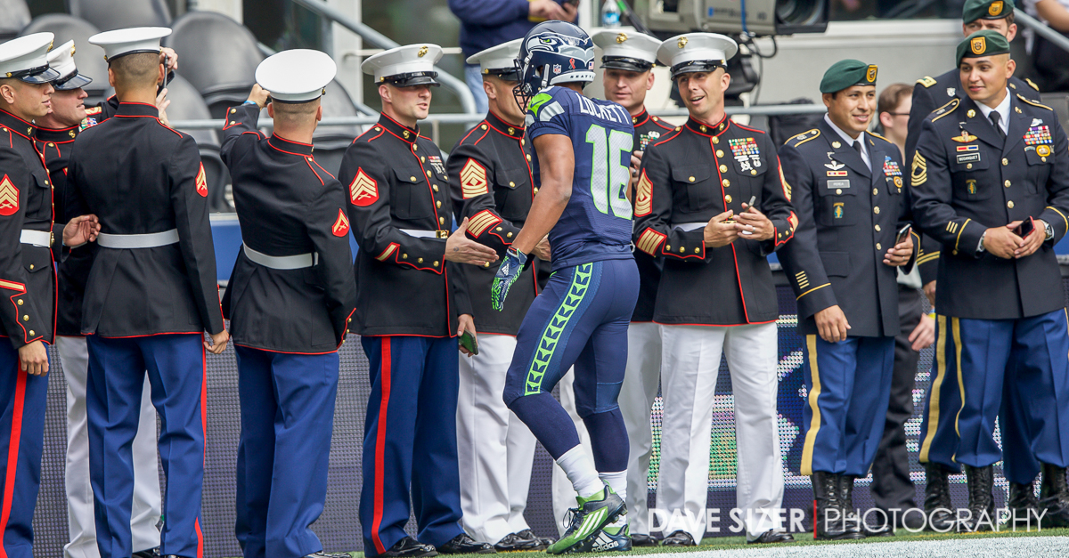 Tyler Lockett shook hands with all of the military members on hand for the game.