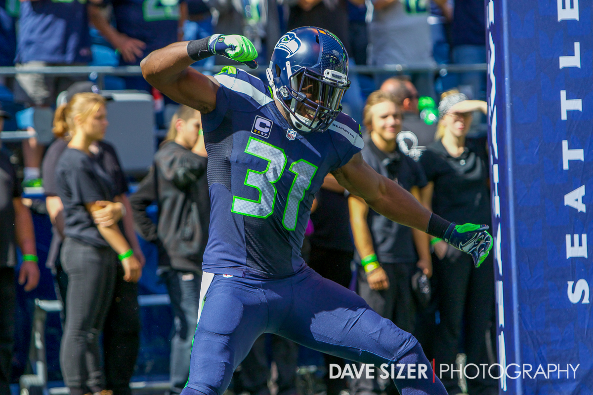 Kam Chancellor drops the hammer during introductions.