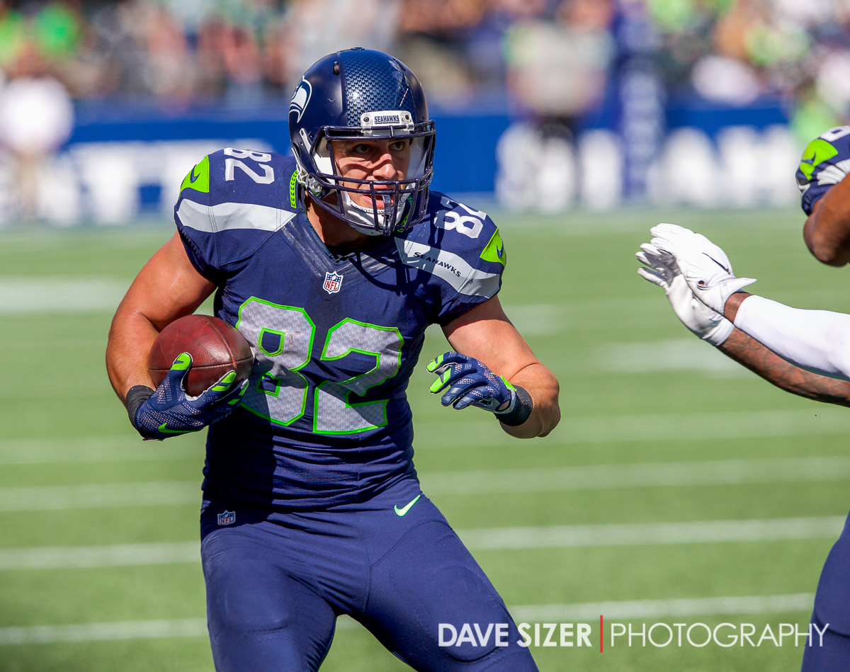 Luke Willson looks upfield for yardage.