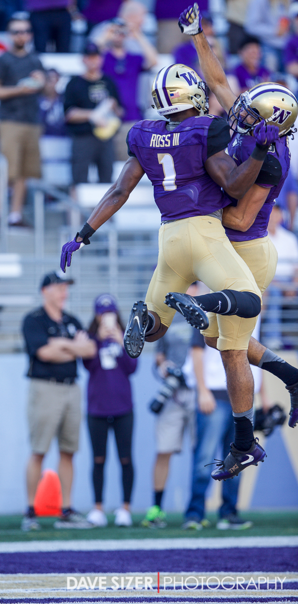 John Ross and Dante Pettis  after a touchdown.