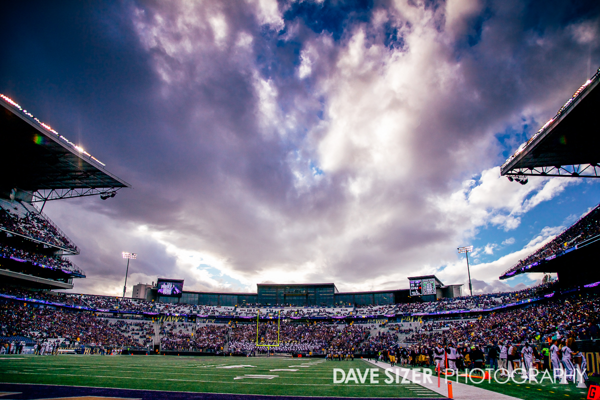 Beautiful clouds over Husky Stadium.