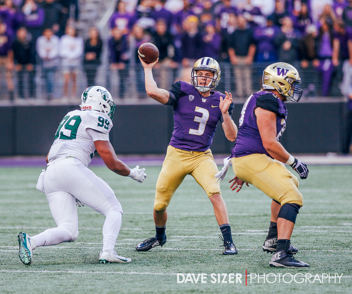 Jake Browning unloads a pass downhill.
