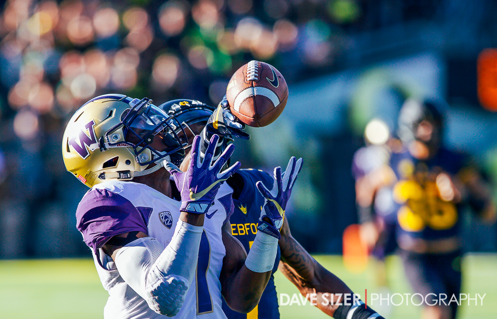 Oregon DB Arrion Springs just gets a hand in to deflect this pass to John Ross.