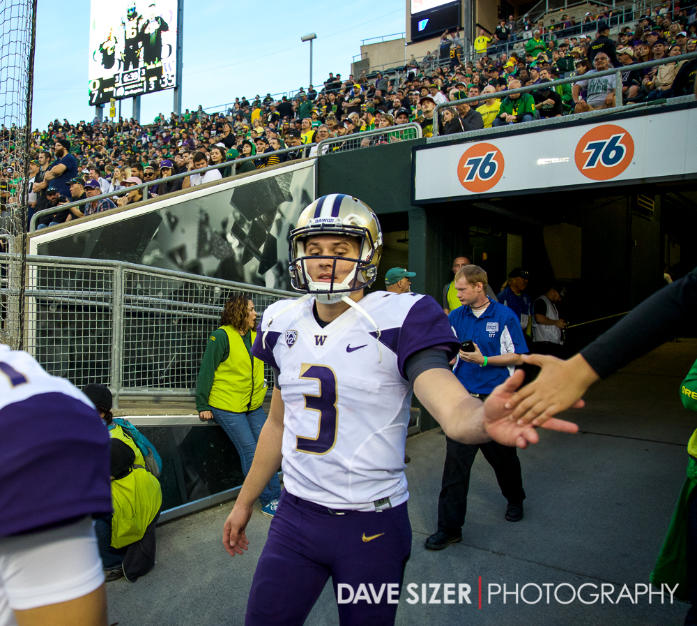 Jake Browning exits the tunnel for the second half.