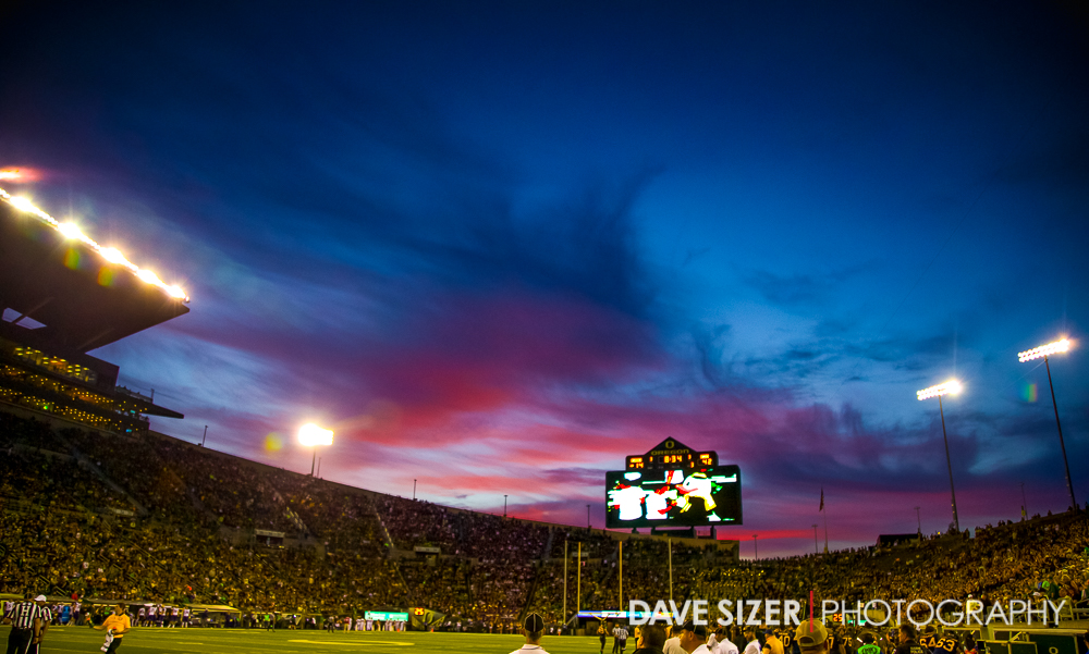 Beautiful sunset over Autzen Stadium.