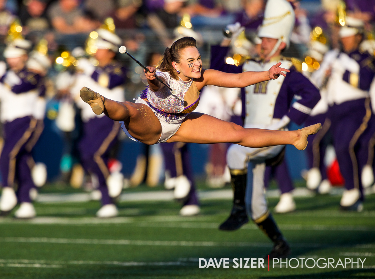 Washington twirler Krissy Terwilliger during pregame.