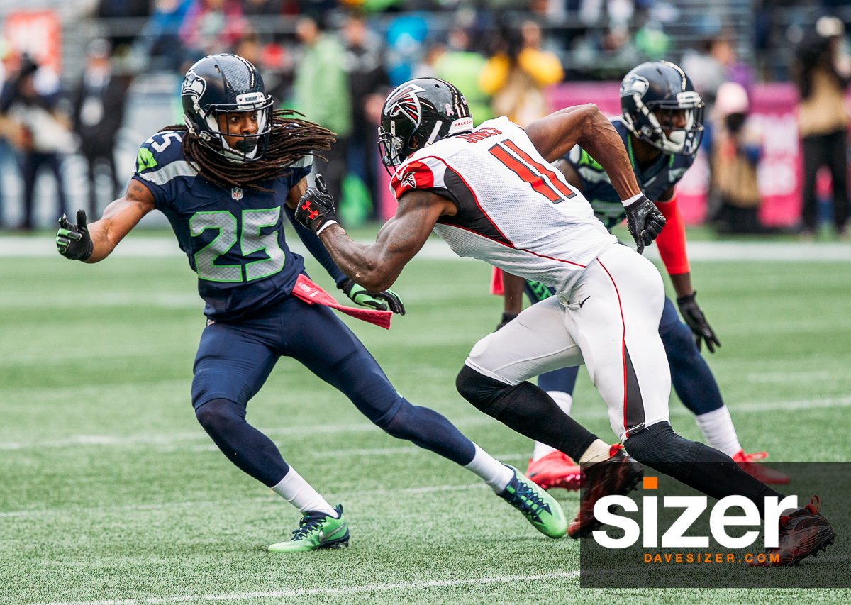 Richard Sherman and Julio Jones were battling all day.