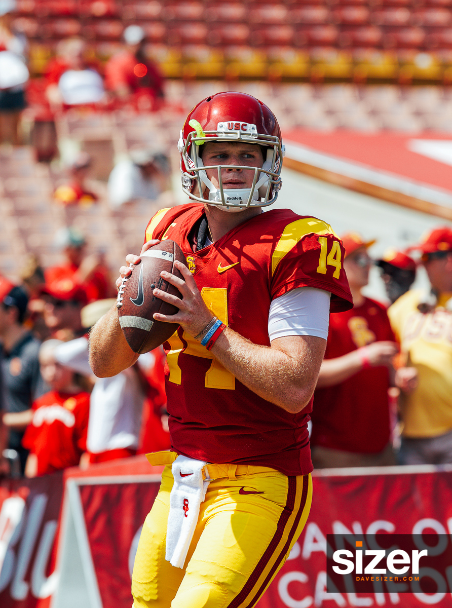Heisman hopeful Sam Darnold warms up.