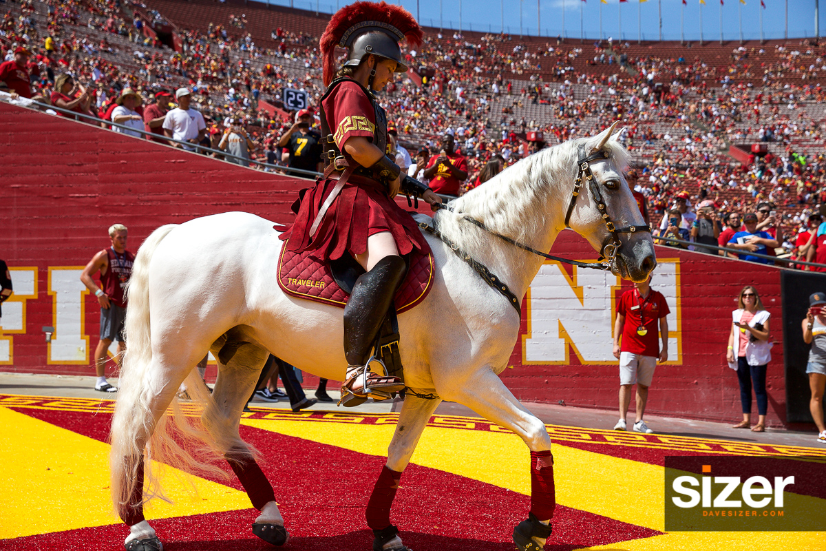 "USC mascot ""Traveler"" takes the field."
